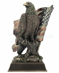 Bronze American Pride Bald Eagle Bird with Stars and Stripes Sculpture