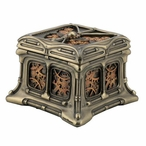 Bronze and Copper Steampunk Butterfly and Gears Trinket Box