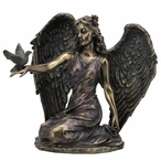 Bronze Angel Kneeling with Right Hand Holding Dove Bird Sculpture