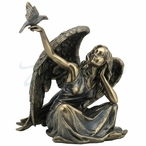 Bronze Angel Sitting with Dove Bird on Right Hand Sculpture