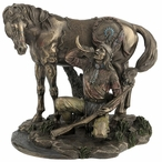Bronze Apache Indian with Horse Drinking Water Out of Horn Sculpture