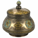 Bronze Arabesque Pattern Round Jar with Lid and Star Designs