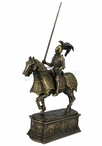 Bronze Armored Knight and Horse with Jousting Lance Medieval Sculpture