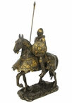Bronze Armored Knight and Horse with Lance and Round Shield Sculpture