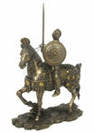 Bronze Armored Knight and Horse with Sword and Round Shield Sculpture