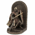 Bronze Armored Maltese Crusader w Sword & Shield Guarding Door Bookend