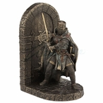 Bronze Armored Maltese Crusader with Sword Guarding Door Bookend