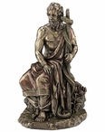 Bronze Asclepius Greek God Of Medicine, Holding Asklepian Sculpture