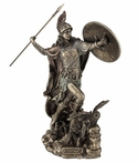 Bronze Athena Throwing Javelin with Owl of Wisdom Sculpture