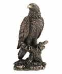 Bronze Bald Eagle Perching on a Tree Branch Sculpture
