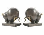 Bronze Bull Aluminum Bookends