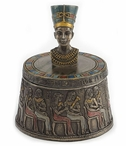Bronze Bust of Nefertiti Egyptian Round Trinket Box