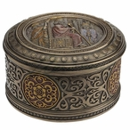 Bronze Darius the Great Round Trinket Box