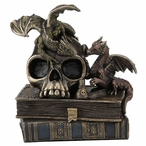 Bronze Dragonlings on top of Skull and Books Sculpture