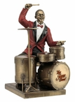 Bronze Drum Player Music Sculpture