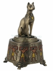 Bronze Egyptian Bastet Cat Music Box Sculpture