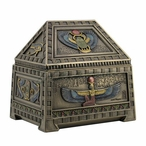 Bronze Egyptian Heart Scarab and Isis Trinket Box