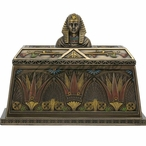 Bronze Egyptian Pharaoh Bust Trinket Box