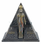 Bronze Egyptian Queen and Pyramid Trinket Box