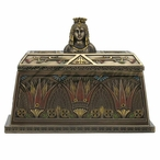 Bronze Egyptian Queen Bust Trinket Box