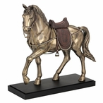 Bronze Fancy Horse with Crystals on the Bridle and Saddle Sculpture
