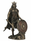 Bronze Female Viking Warrior with Sword and Shield Fantasy Sculpture