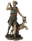 Bronze Greek Goddess Diana with Deer Sculpture