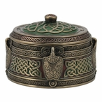Bronze Green and Red Celtic Pattern Round Trinket Box