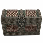 Bronze Green and Red Celtic Pattern Treasure Chest Trinket Box