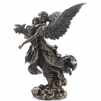 Bronze Guardian Angel Holding a Child and a Flower Sculpture