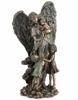 Bronze Guardian Angel with Children Sculpture