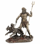 Bronze Hades Holding Staff with Cerberus Sculpture
