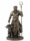 Bronze Hades Ruler of Greek Underworld with Cerberus Sculpture