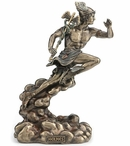 Bronze Hermes Running with Caduceus Sculpture