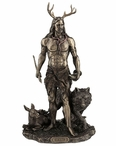 Bronze Herne the Hunter with Deer and Wolf Sculpture