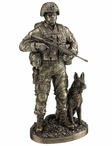 Bronze Honor, Courage, Commitment US Army and War Dog Sculpture