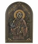 Bronze Iconic Style St. Francis with Dove Wall Plaque with Stand