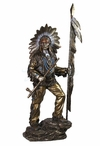 Bronze Indian Chief Holding Feathered Spear and Peace Pipe Sculpture