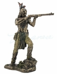 Bronze Indian Warrior Standing and Shooting a Rifle Sculpture