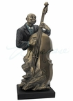 Bronze Jazz Band Double Bass Bust Music Sculpture