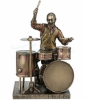 Bronze Jazz Band Drummer Sculpture