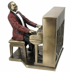 Bronze Jazz Band Pianist Wearing a Red Suit Music Sculpture