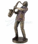 Bronze Jazz Band Saxophonist Player Sculpture