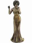Bronze Jazz Female Vocalist Bank Sculpture
