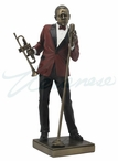 Bronze Jazz Male Singer with Trumpet Sculpture