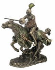 Bronze Jousting Armored Knight with Lion Emblem Shield Sculpture
