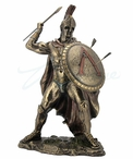 Bronze Leonidas with Spear and Shield Greek Sculpture