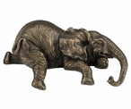 Bronze Lounging Baby Elephant Sculpture