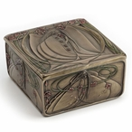 Bronze Mackintosh Style Art Nouveau Rose Maiden Trinket Box