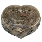 Bronze Mermaid Heart Shape Trinket Box
